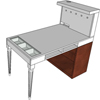 bureau audio collection classic pieds louis seize bois rose wood vitrine horizontale plateau blanc cases ouvertes tiroir passe-câbles ordinateur rangement support écran crochets casque matériel prise de mesures