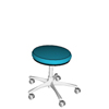 tabouret opticien professionnel vendeur sur roulettes chromées collection color coussin d'assise arrondi simili cuir lavable bleu ciel
